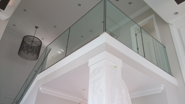 Interior glass staircase / Base Shoe Installation