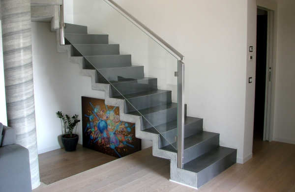 Interior Glass Railing with Stainless Steel Post -Square line